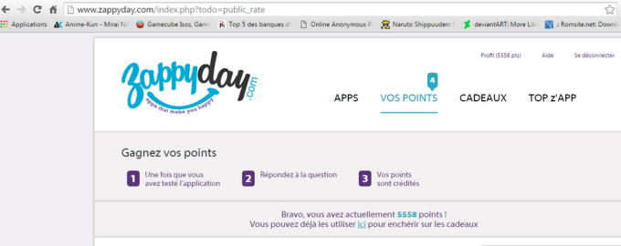 Capture d'écran site zappyday